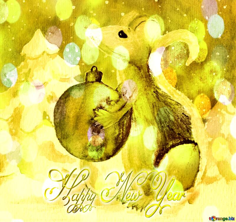 Chinese new year 2020 of the rat inscription happy New Year 3d gold background. №54497