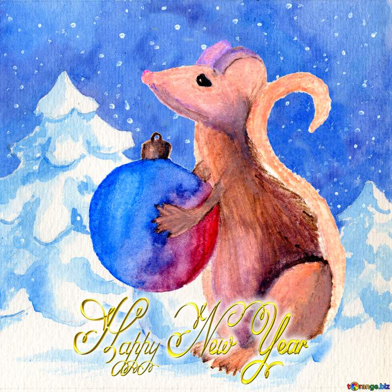 2020 Chinese new year of the rat Happy New Year card background. №54497