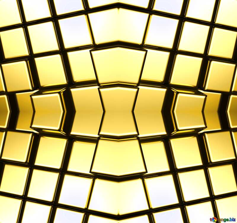 3d abstract gold metal cube background Pattern Screen Texture №54498