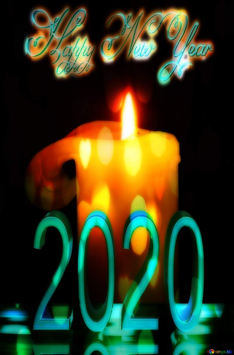 Burning candle 2020 happy new year №2390