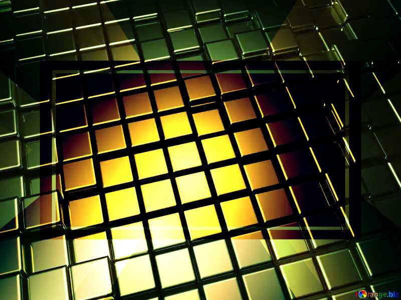 3d abstract gold metal cube background Powerpoint Responsive Template №54498