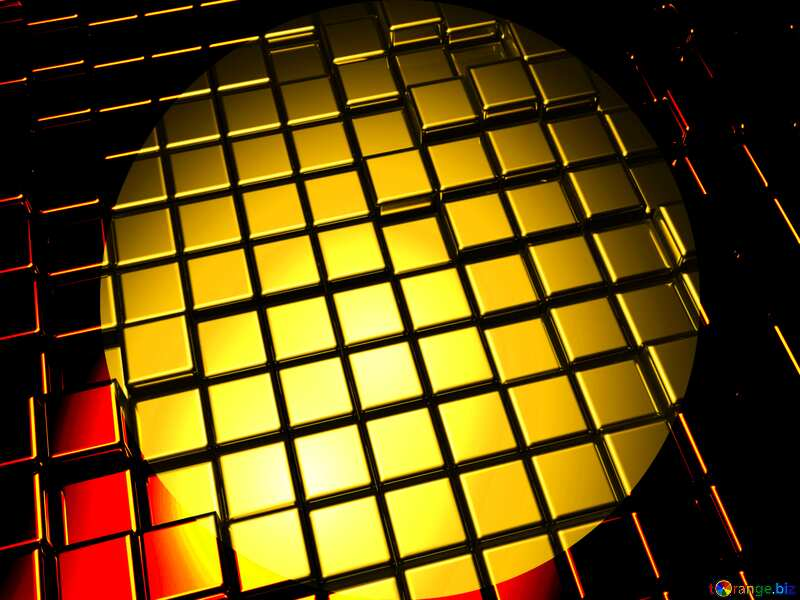 3d abstract gold metal cube background Presentation Template Dark №54498