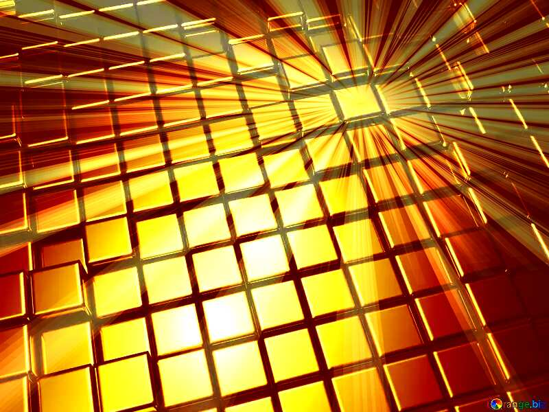 3d abstract gold metal cube background Rays Sun Sunlight Sunset №54498