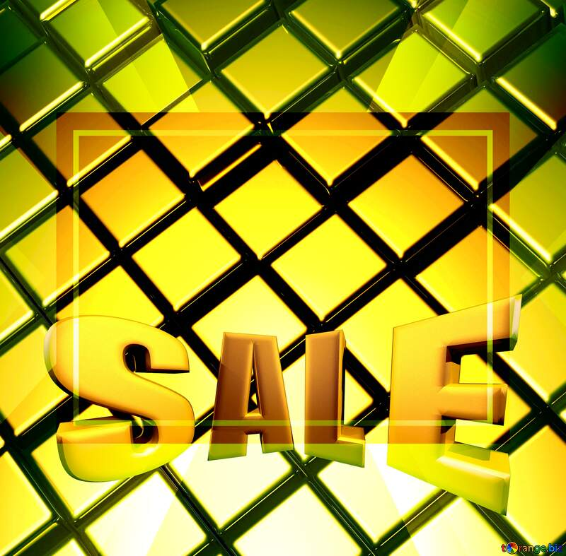 3d abstract gold metal cube background Sales Sale Promotion Design Template №54498