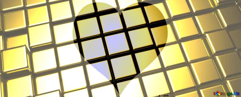 3d abstract gold metal cube background Banner Love Heart Shape Squares Pattern Techno Technology №54498