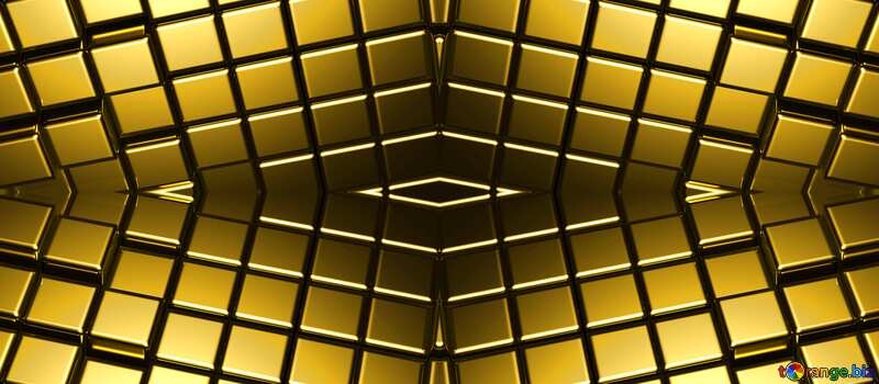 3d abstract gold metal cube background Style Pattern Computer Generated №54498