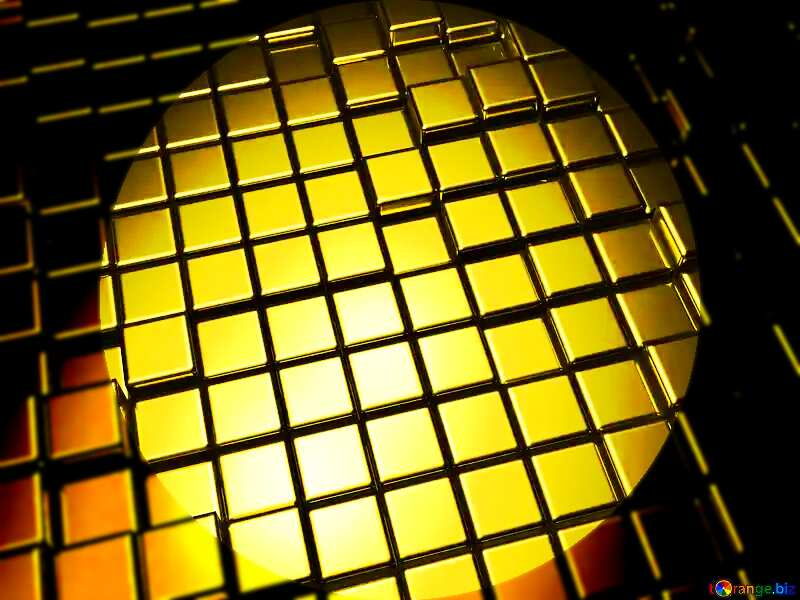 3d abstract gold metal cube background Info graphic Template dark circle shaped №54498