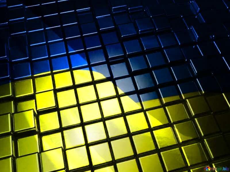3d abstract gold metal cube background Ukrainian Ukraine Flag №54498