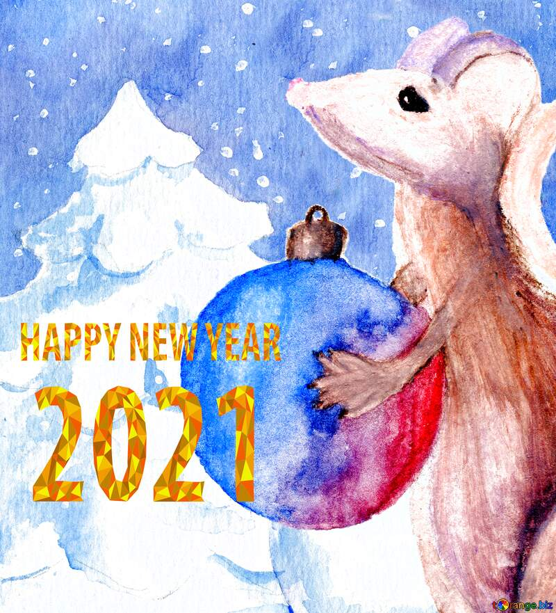 Chinese 2020 happy new year of the rat watercolor background. №54497