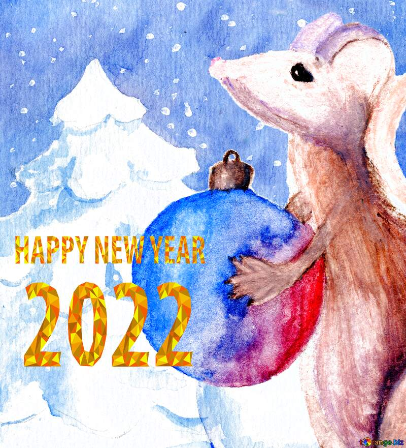 Chinese 2021 happy new year of the rat watercolor background. №54497