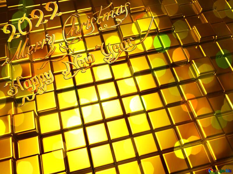 3d abstract gold metal cube background Merry Christmas Happy New Year 2022 Bokeh Card Greetings №54498