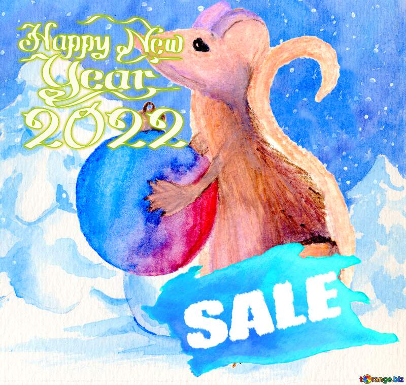 Watercolor sale background. Chinese new year 2021 of the rat №54497