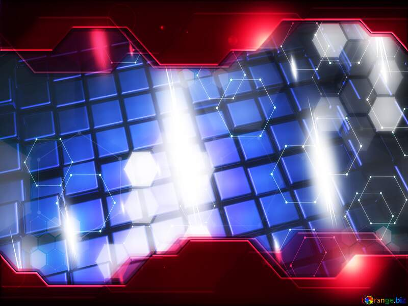 3d abstract blue metal cube boxes background Red Information Technology business concept Hi-tech Elements №54499
