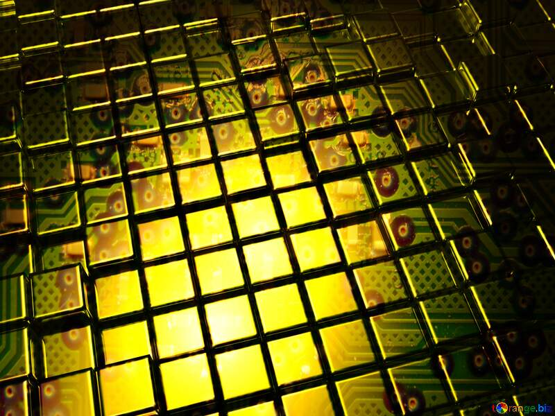 3d abstract gold metal cube background Circuit Board texture it technology №54498