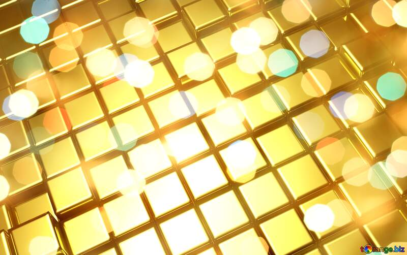 3d abstract gold metal cube background Bokeh Bright №54498