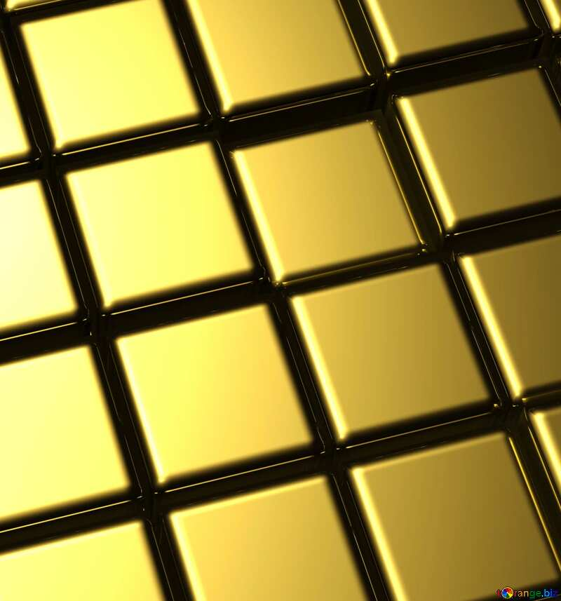 3d abstract gold metal cube background Line №54498