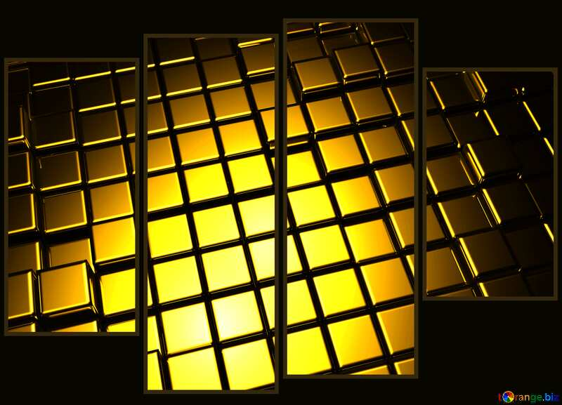 3d abstract gold metal cube background Modular art №54498