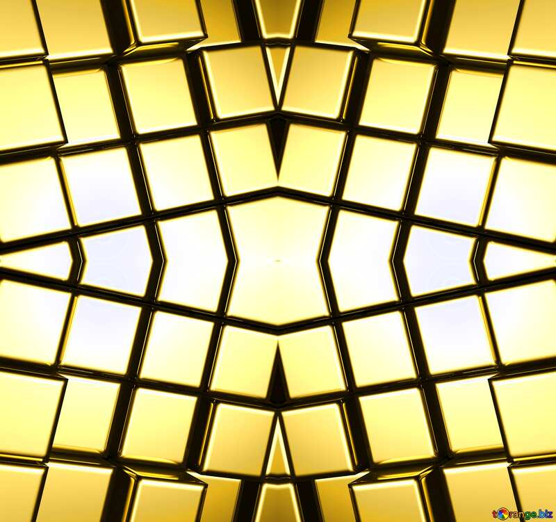 3d abstract gold metal cube background Pattern Bright №54498