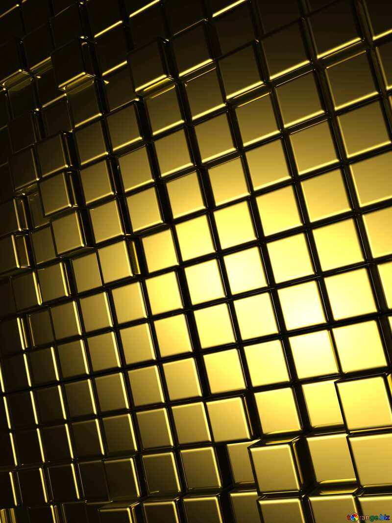 3d abstract gold metal cube background Texture Board №54498