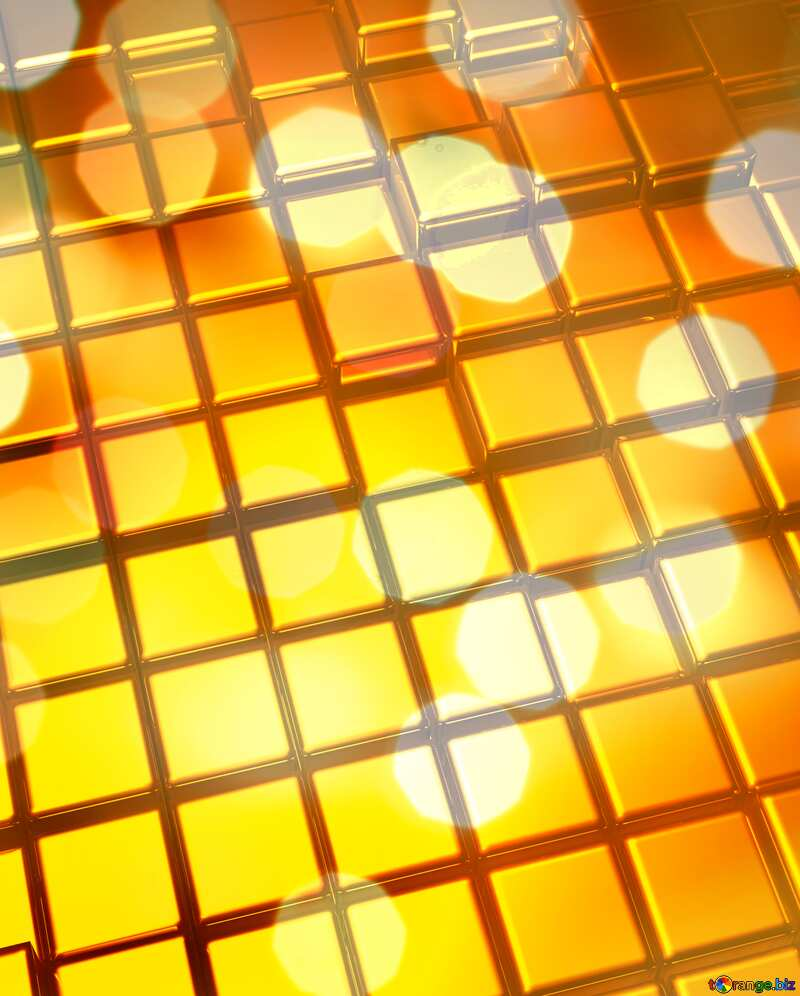 3d abstract gold metal cube background Beautiful Blurred Bokeh Card №54498