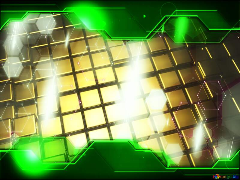 3d abstract gold metal cube background Beautiful Concept Hi-tech Illustration №54498