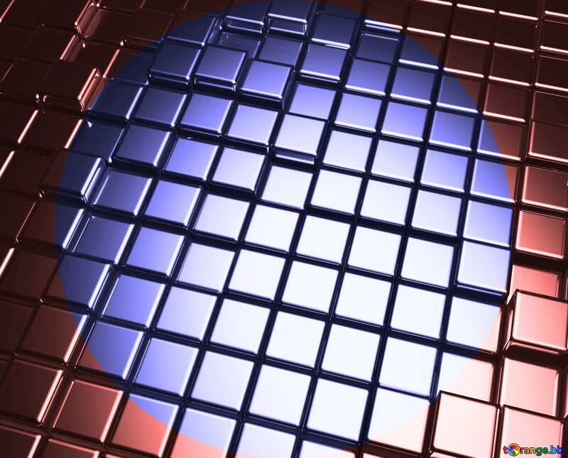 3d abstract metal cube background circle frame №54498