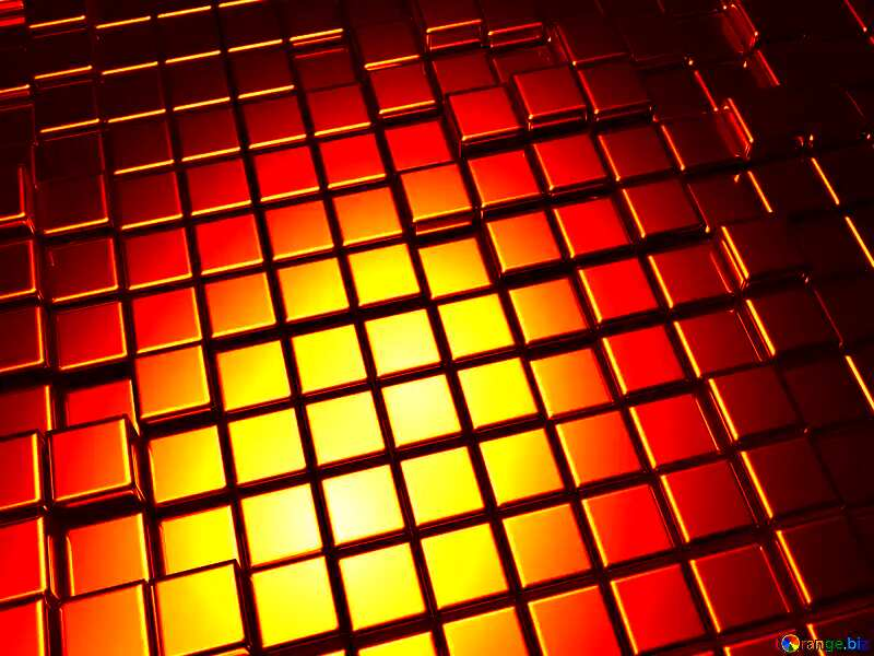 3d abstract red gold metal cube background №54498