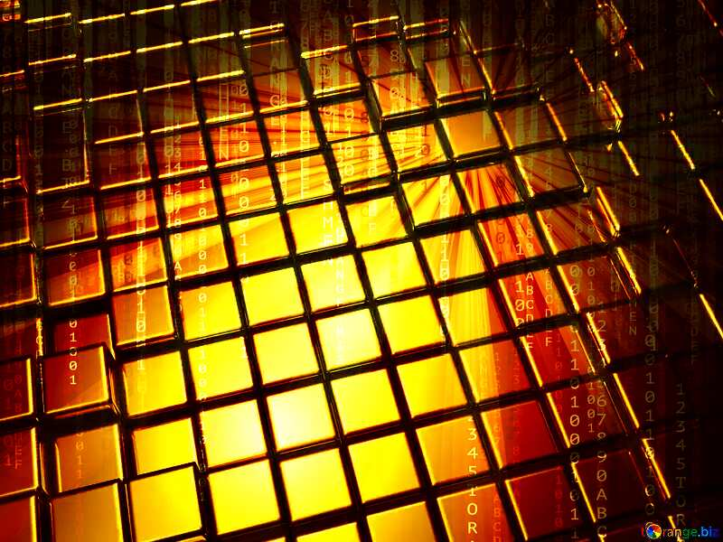 3d abstract gold metal cube background Cyber Digital Internet Technology №54498