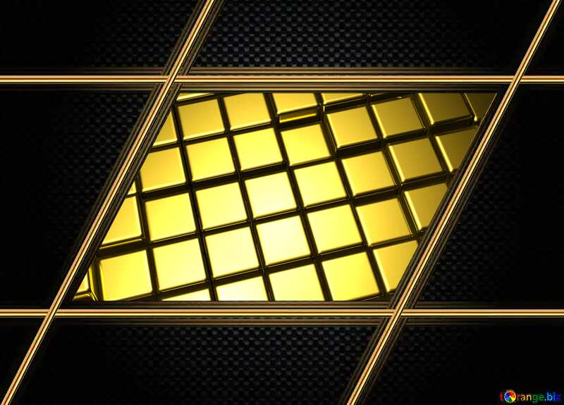 3d abstract gold metal cube background Carbon Computer Dark Frame Futuristic Lines №54498