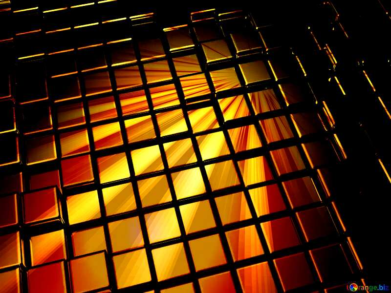 3d abstract gold metal cube background Dark Rays Sunrise Reflections №54498