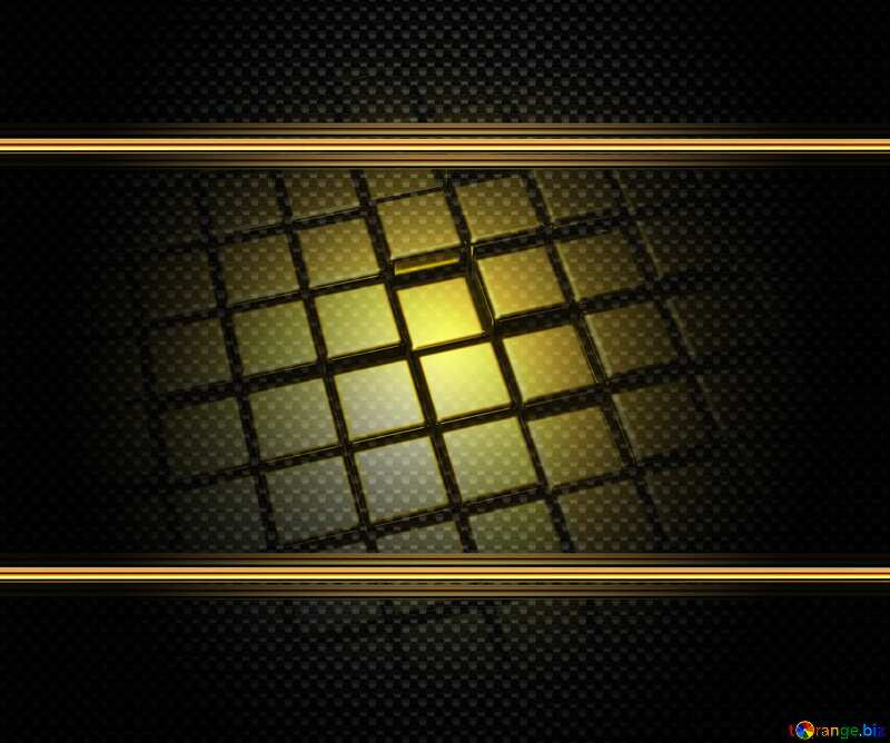 3d abstract gold metal cube background Carbon Dark Tech Technology Frame №54498
