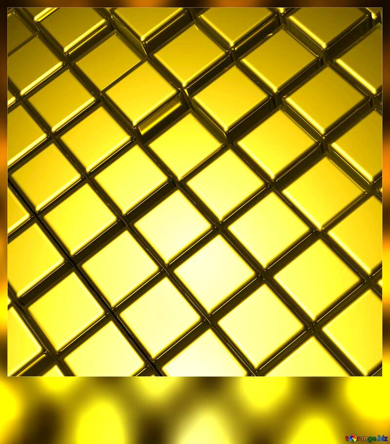 3d abstract gold metal cube background Frame Blank Card №54498