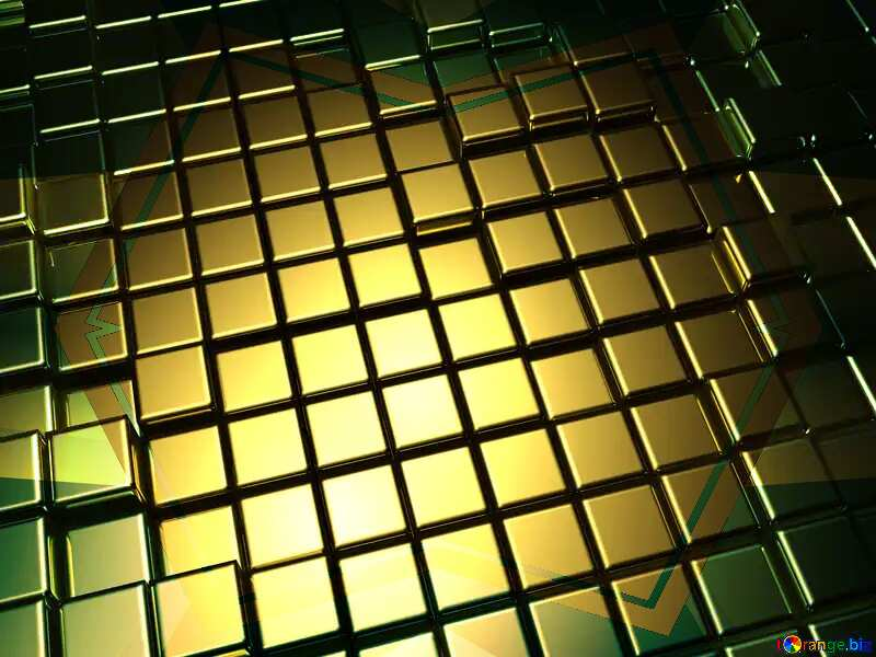 3d abstract gold metal cube background Frame Gate Illustration Template №54498