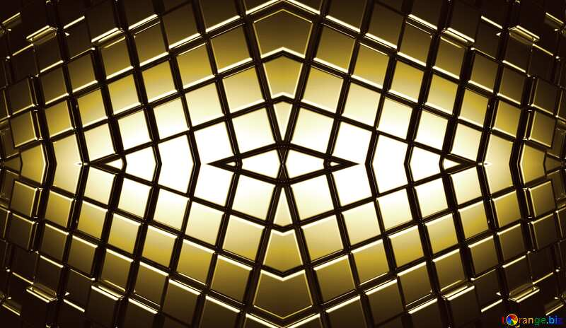 3d abstract gold metal cube background Futuristic Pattern Lines Shape №54498