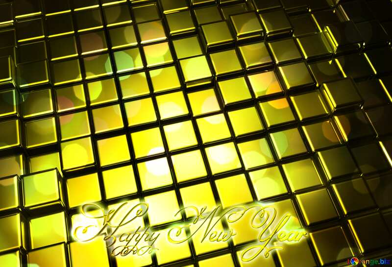 3d abstract gold metal cube background Bokeh Bright Christmas Card Happy New Year Text Inscription №54498