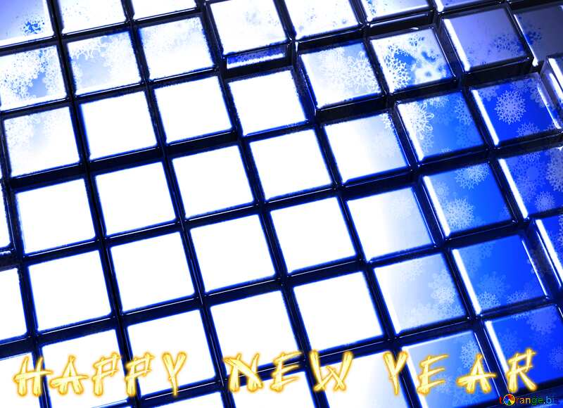 3d abstract metal cube background Blue Futuristic Happy New Year Technology №54498