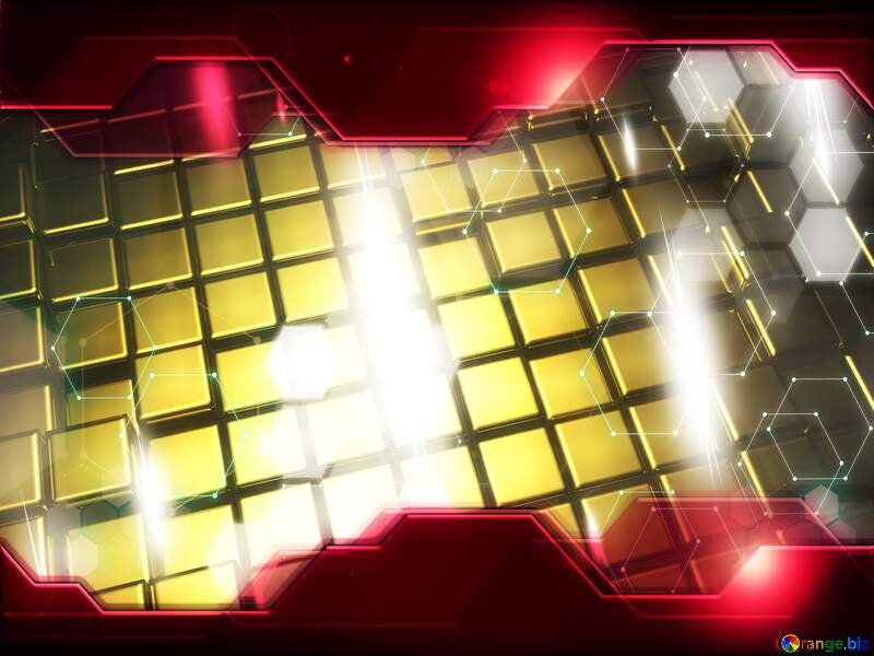 3d abstract gold metal cube background Business Concept Hi-tech Elements Technology Red №54498