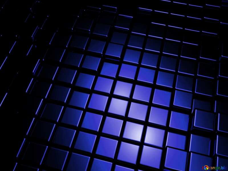 3d art abstract dark blue metal cube background №54498