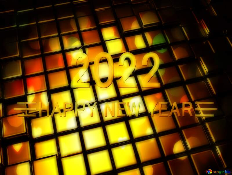 3d abstract gold metal cube background Happy New Year 2022 Yellow Bright Brilliant Card Congratulations №54498