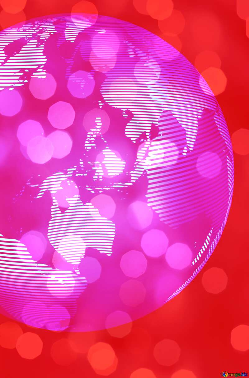 Modern global world earth concept planet symbol 3d Abstract Red Pink №54515