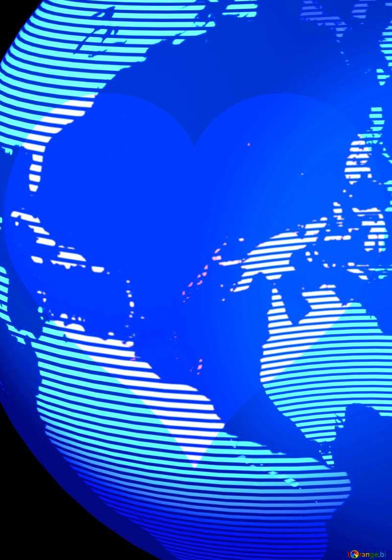 Modern global world earth concept planet symbol 3d Heart love Pink №54515