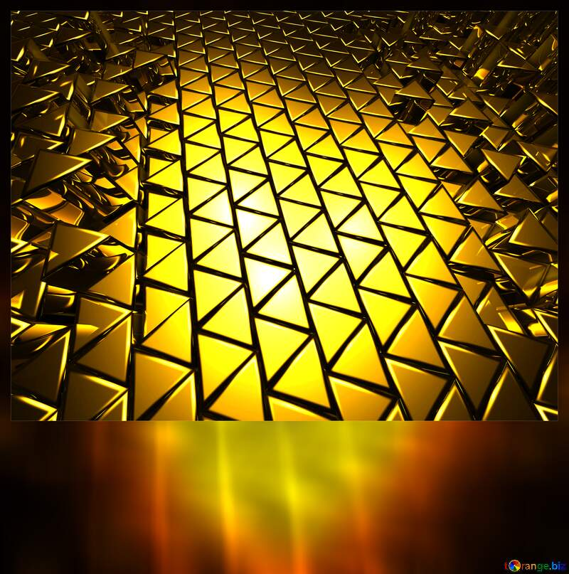 3D abstract geometric volumetric triangle gold metal background Blank Card Motivation №54502