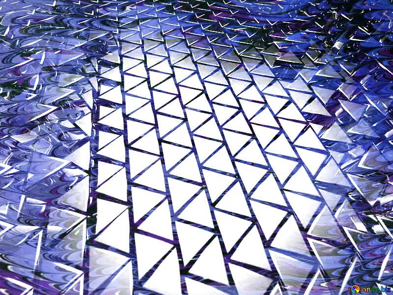 3D abstract geometric volumetric triangle metal background Blue Skin Snake №54502