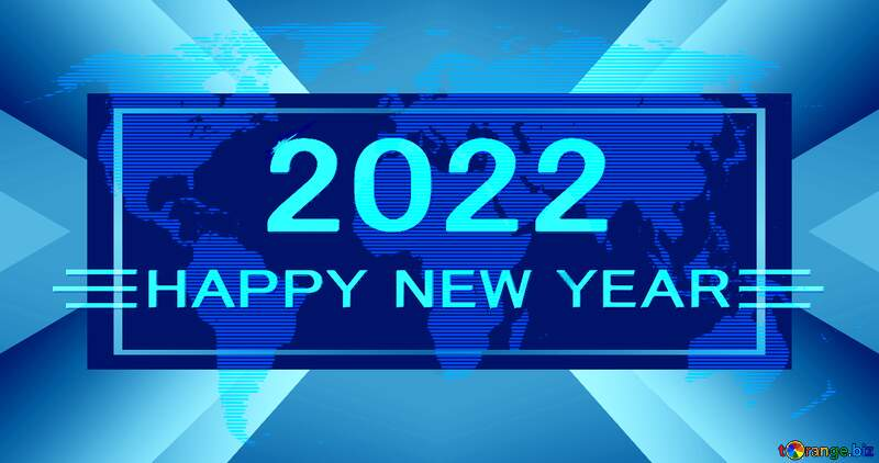 World map blue concept gold Shiny happy new year 2021 composition business №54504