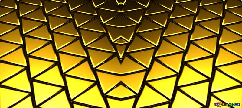 3D abstract geometric volumetric triangle gold metal background Futuristic Fractal Pattern №54502