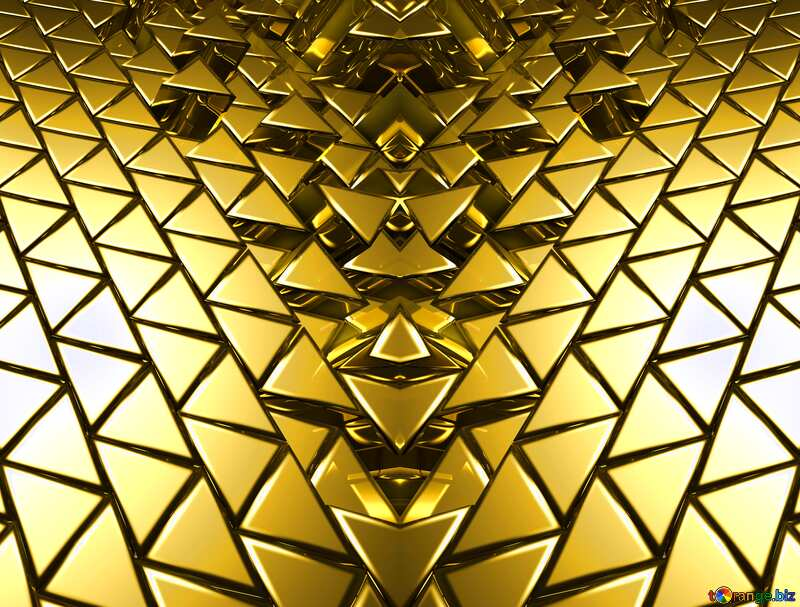 3D abstract geometric volumetric triangle gold metal background Futuristic Generated Pattern №54502