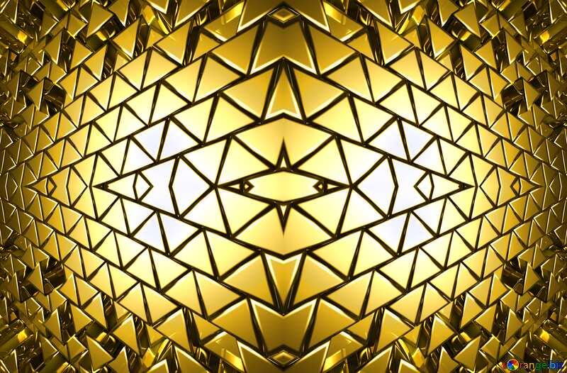 3D abstract geometric volumetric triangle gold metal background Futuristic Geometric Pattern №54502