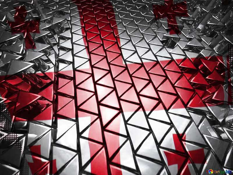 3D abstract geometric volumetric triangle metal background Georgia Georgian Flag №54502