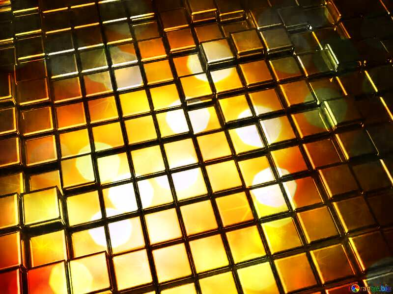 3d abstract gold metal cube background Golden Christmas twinkling stars background №54498