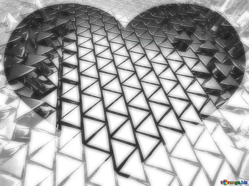 3D abstract geometric volumetric triangle light metal background Heart love fractal №54502